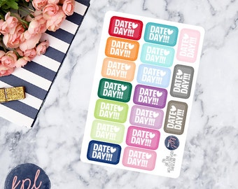 Day Date Planner Stickers. Set of 17. Perfect for Erin Condren Life Planners! 067