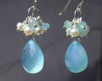 Chalcedony Earrings, Chalcedony Pearl Earrings, Chalcedony Cluster Earrings Earrings, Chalcedony Dangling, Pearl Cluster Earrings