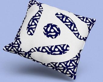 45 RPM Adaptor Blue Square Indoor Throw Cushion