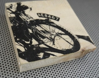 Vintage motorcycle / 4 inch handmade wood grain block photo artwork / Glasgow museum British bike motorbike scooter wheels man cave decor