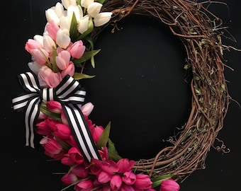 Tulip Wreath, Pink Tulip Wreath, Spring Wreath, Valentine Wreath, Mother's Day Wreath, Easter Wreath, Modern Spring Wreath