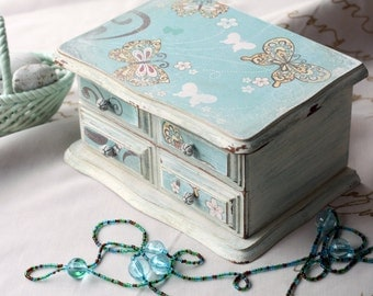 Vintage Upcycled Decoupage Jewelry Box