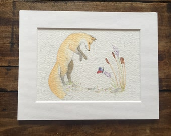Playful Mr Fox with Butterfly. Original watercolour painting #1 in series of Mr Fox British Wildlife paintings - mounted
