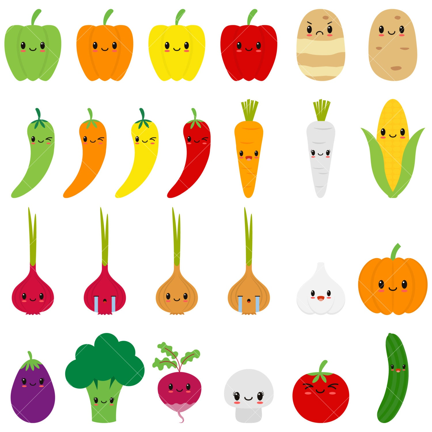 Kawaii Vegetables / Cute Vegetable Clipart / Happy Veggies ...