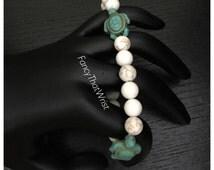 Turtle Egg Howlite Round Stone Beaded Stretchy Bracelet, Turquoise Beads/White beads/Turtles, Howlite Stone Bracelet