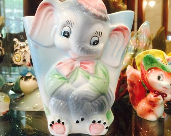 Vintage Anthropomorphic Dumbo the Elephant Wall Pocket made in Japan