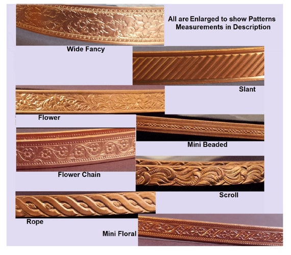 COPPER Artisan Pattern Wire 99.9% 8 Styles 12 or 24 Inches (30.48 ...