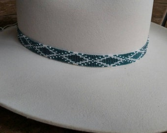 White and teal beaded cowboy hat band