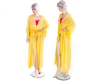 Chiffon  kimono Kaftan dress in yellow , light weight elegant beach cover up,women's beach kaftan dress