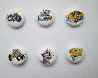 Vehicles 6 wooden buttons buttons for kids 15 mm Ø