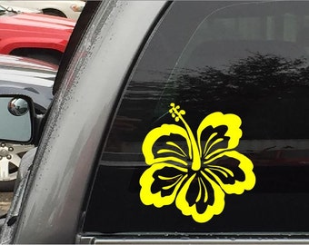 Hibiscus Decal - Hawaiian State Flower - Yellow Hibiscus Stickers