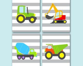Construction Wall Art,Trucks Kids Wall Art,Dump Mixer Tractor Excavator  Nursery Wall Art,Construction Bedroom Decor,Trucks Wall Art C116