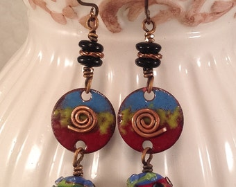 Enameled copper earrings, Lampwork Glass earrings, Copper Swirls