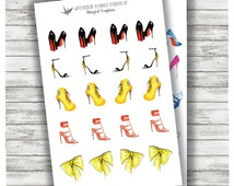 Hand painted, watercolour, high fashion shoe planner stickers (2 pages)