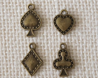 Puffed Playing Card Suits Charms - Antique Brass Color 4pcs Assorted - Deco Parts Poker Spade Heart Club Diamond Beads Accessories Craft DIY