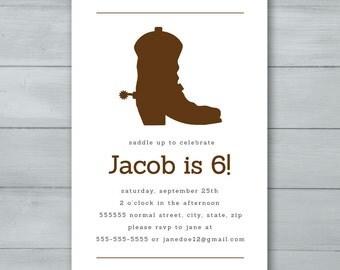 Cowboy Boot Birthday Party Invitation  |  Cowboy Invite  |  Cowboy Boot Invitation