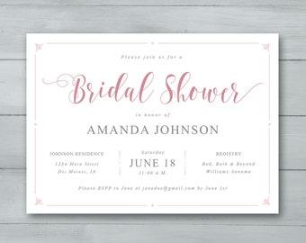 Bridal Shower Invitation  |  Bridal Shower Invite  |  Bride to Be Invitation