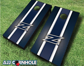 Officially Licensed Akron Zips Striped Cornhole Set with Bags - Bean Bag Toss - Akron Cornhole - Corn Toss - Corn hole