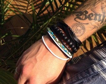SALE 70% set of bracelets for men - leather, wood beads and cord braided