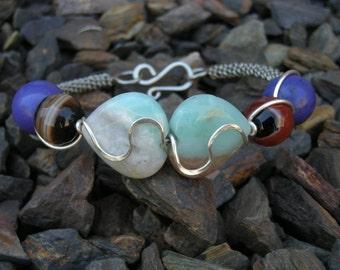 Bangle Earring Set, Gemstone Bangle, Heart Bangle, Wire Bangle Heart Earrings, Gemstone Earrings