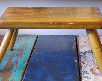 Antique 1870 Small Wooden Stool Bench