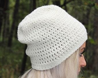 Beige Slouchy Hat, Tan Slouchy Hat, Cream Slouchy Hat, Tan Beanie, Tan Hat, Tan Crochet Hat, Beige Beanie, Tan Winter Hat, THE RAINIER