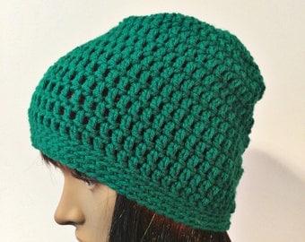 Green Beanie, Green Beanie Hat, Green Slouchy Beanie, Green Slouchy Hat, Green Crochet Hat, Green Winter Hat, THE RAINIER