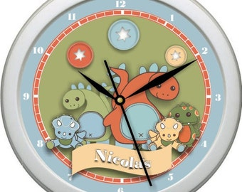 "Dinos At Play Blue Green Orange Personalized 10"" Nursery / Children Wall Clock Shower Gift Boy's Room Decor"