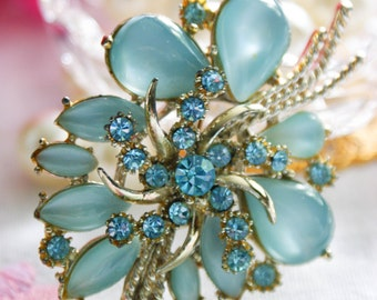 Vintage Brooch by Exquisite, Vintage necklace / pendant, beautiful something blue flowers, sparkly, wedding gift