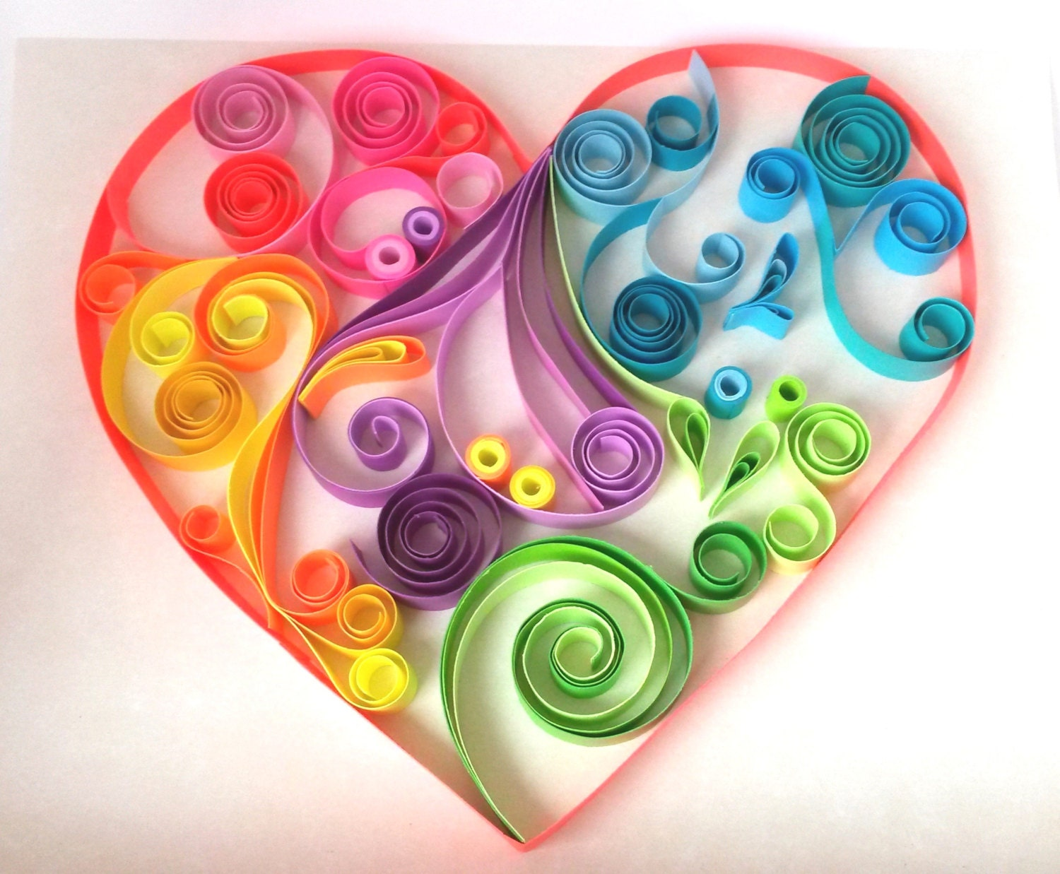 Heart paper quilling artcolorful heart home by for Quilling strips designs