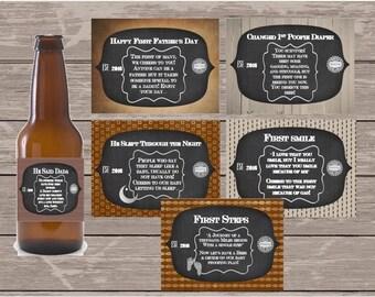Custom Set of First Time Dad Beer Bottle Labels