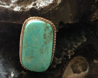 Antique Navajo Native American Pawn Nevada Blue Turquoise Ring Sz. 5 Mid-20th c. Trade Piece in a Typical Navajo Handcrafted Style