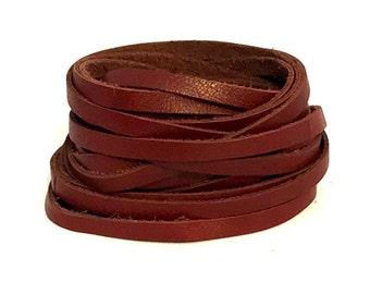 7mm Burgundy Leather Strap / 7mm Burgundy Leather Strip / Leather Strap / Leather Straps / Leather Strips / Leather Lace / Bracelet Leather