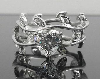 Heart leaf ring set,heart shape cz valentines day gift,valentines day heart ring
