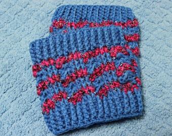 Blue & Fuschia Crochet Boot Cuffs