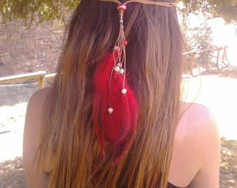 FEATHERS, hair HEADBAND, collar piped leather, different and fun, red and blue