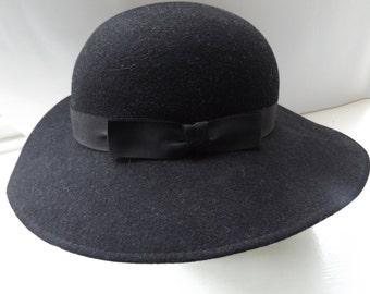 vintage 80s bermona trend black hat sun hat