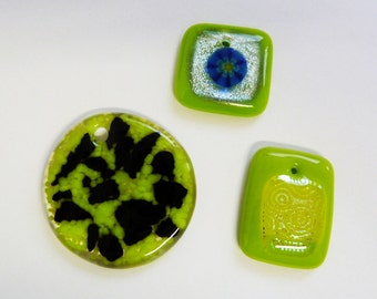 Set of 3 fused glass pendants dichroic glass, with holes drilled for hanging