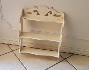 vintage shabby ornate wooden shelf