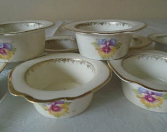 Three crowns china Germany side dishes/desert dishes x 10, pansies design