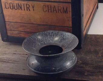 Vintage Grey Graniteware Enamelware Spittoon