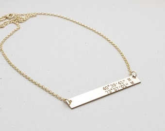 Personalized medium Bar Necklace, Bridesmaid Gift, Gift for her, Name Plate Necklace, handmade jewelry