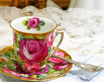 SAXE Austria Chocolate Cup and Saucer ~  Yellow Pink Roses Gold Decorated / Hand Painted ~ Charles Ahrenfeldt & Son ~ Circa 1896