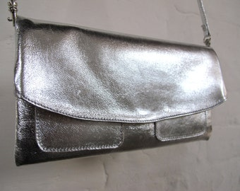The Clutch Purse with wristlet and shoulder strap -  Silver leather