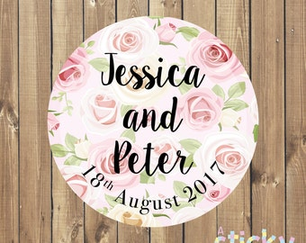 Personalized Wedding Stickers, Wedding Labels, Wedding Tags, Favor Stickers, Christening Stickers, Floral Wedding Stickers, Floral Stickers