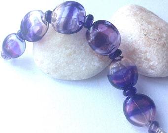 Violets Flattened Hollow Lampwork Bead Set x 6  SRA