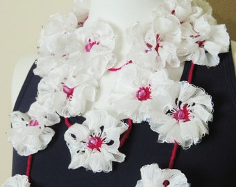 Flower Scarf, White and Pink Scarf, Long Flower Necklace, White Lariat Necklace, Lariat Scarf