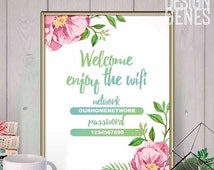 SALE Wifi password sign, Welcome and enjoy the wifi, Printable home decor, floral wifi sign, Coffee shop decor, Instant download editable PD