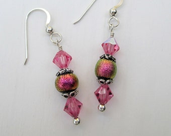 Pink dichroic glass bead with pink Swarovski crystal on sterling silver ear wires