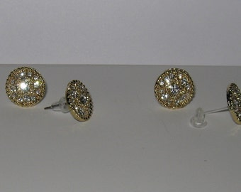 Hypoallergenic Studs,Button Earrings, Gold Tone with Clear Crystals, 1/2 inch/Choice Titanium posts or Nylon Posts